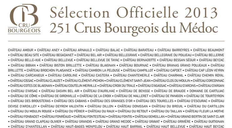 2013年份法国波尔多中级庄名单