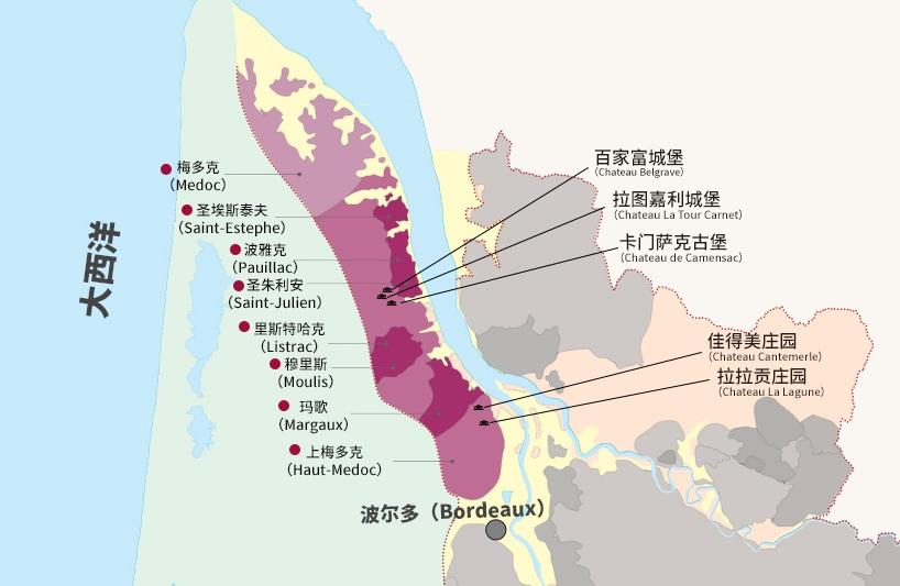 波尔多1855列级庄分布图之上梅多克