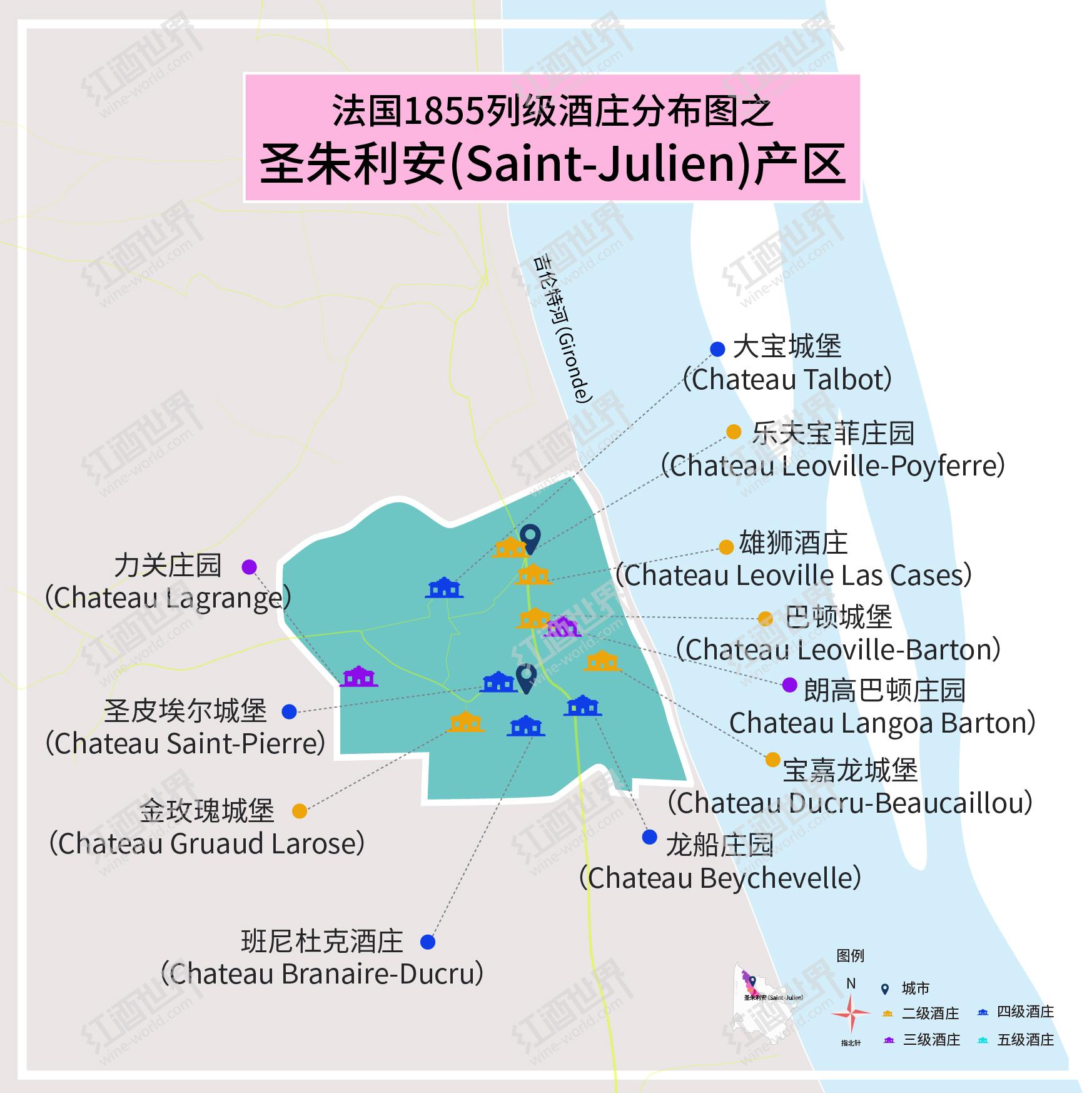 波尔多1855列级庄分布图——圣朱利安