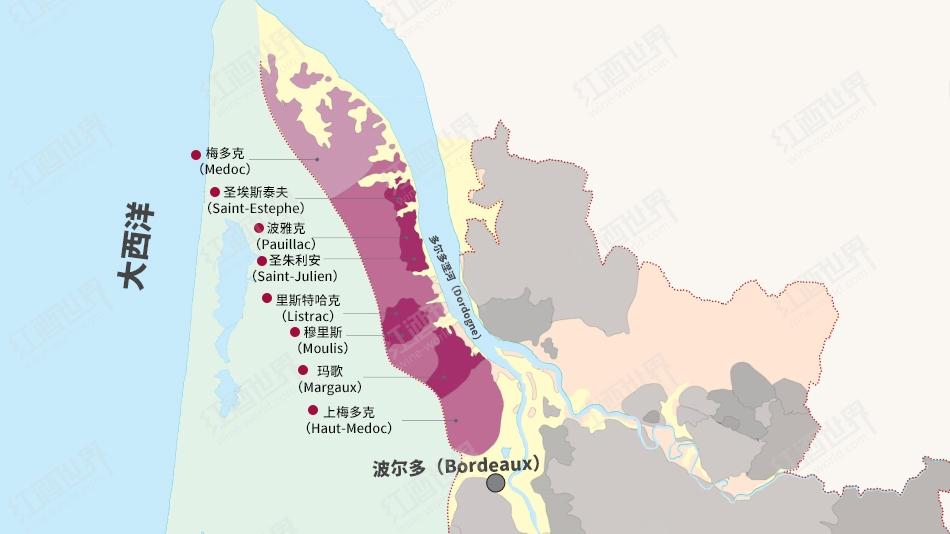 波尔多1855列级庄分布图之圣埃斯泰夫