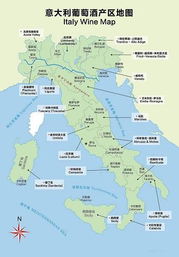 意大利葡萄酒地图